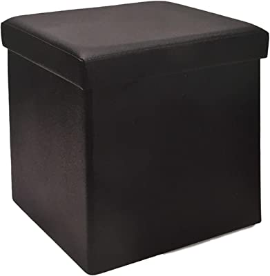 Amazon.com: IKEA Black Storage Ottoman Footstool Bosnas Cube ...