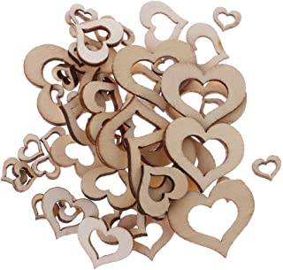 Simdoc 50pcs Mix Size Hollow Heart Wooden Embellishments, Wooden Heart Pieces for Making DIY Craft Wedding Decor