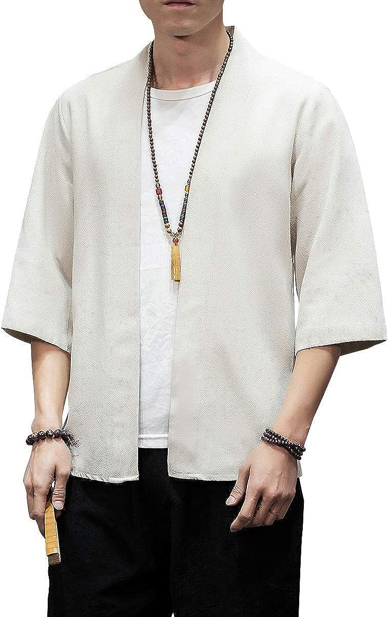 PRIJOUHE Men's Kimono Jackets Cardigan Lightweight Casual Cotton Blends Linen Seven Sleeves Open Front Coat Outwear