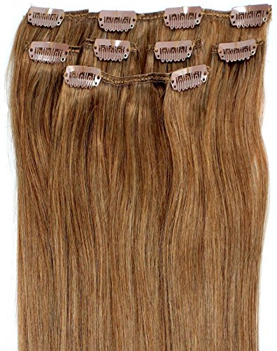 Forever Young Haarverlängerung Echthaar Extensions Clip in halben Kopf 40g 40,6cm Länge caramel braun # 10