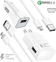 Fast Wall Charger set for Galaxy S7, S7 Edge Adaptive Fast Car Charging kit with Micro 2.0 USB Cable up to 50% Faster Charging! by Boxgear Compatible Other Samsung Galaxy / S6 / S6 Edge Note 5, 4 / S3