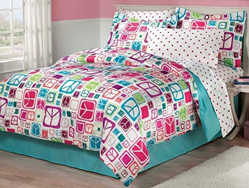My Room Peace Out Girls Comforter Set with Bedskirt, Teal,...