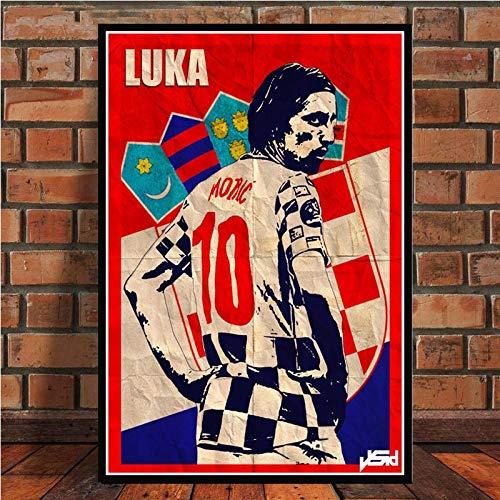 HNTHBZ Poster Robben Cruyff Beckenbauer Ronaldinho Cartel Retro Estrella del fútbol y Impresiones de la Pintura Sala de Arte la decoración del hogar (Color : 007, Size (Inch) : 50x70cm No Frame)