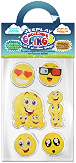 Funny Smiley Faces Thick Gel Clings Incredible Removable Window Clings for Kids, Toddlers - Heart Eyes, Thumbs Up, Party, Smiley, LOL - Incredible Gel Decals for Glass, Walls, Planes, Classrooms