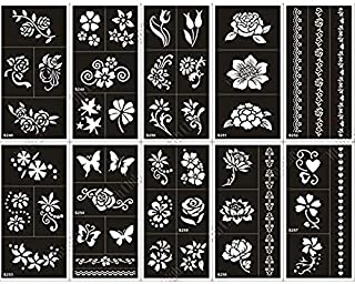 Pack of 10 Airbrush Henna Tattoo Stencil for Women Hand Finger Face Body Painting Kids Glitter Tattoo Templates 18 X 8.5cm (1)