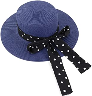 Black White Wave Point Bow Decoration Sun Hat Sunshade Straw Beach Sun Hat Women Outdoor Beach Travel Sun Hat (Color : Navy Blue, Size : 56-58CM)