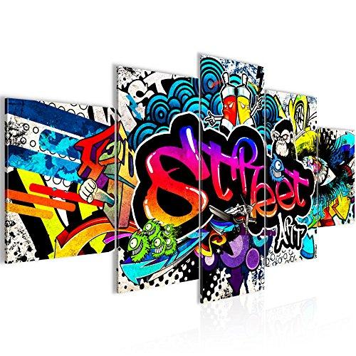 Bilder Graffiti Streetart Wandbild 200 x 100 cm Vlies - Leinwand Bild XXL Format Wandbilder Wohnzimmer Wohnung Deko Kunstdrucke Bunt 5 Teilig - MADE IN GERMANY - Fertig zum Aufhängen 004551b
