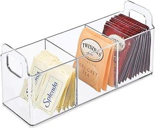 mDesign boite de rangement avec poignées – panier de rangement pratique avec 3 compartiments pour cuisine ou garde-manger...