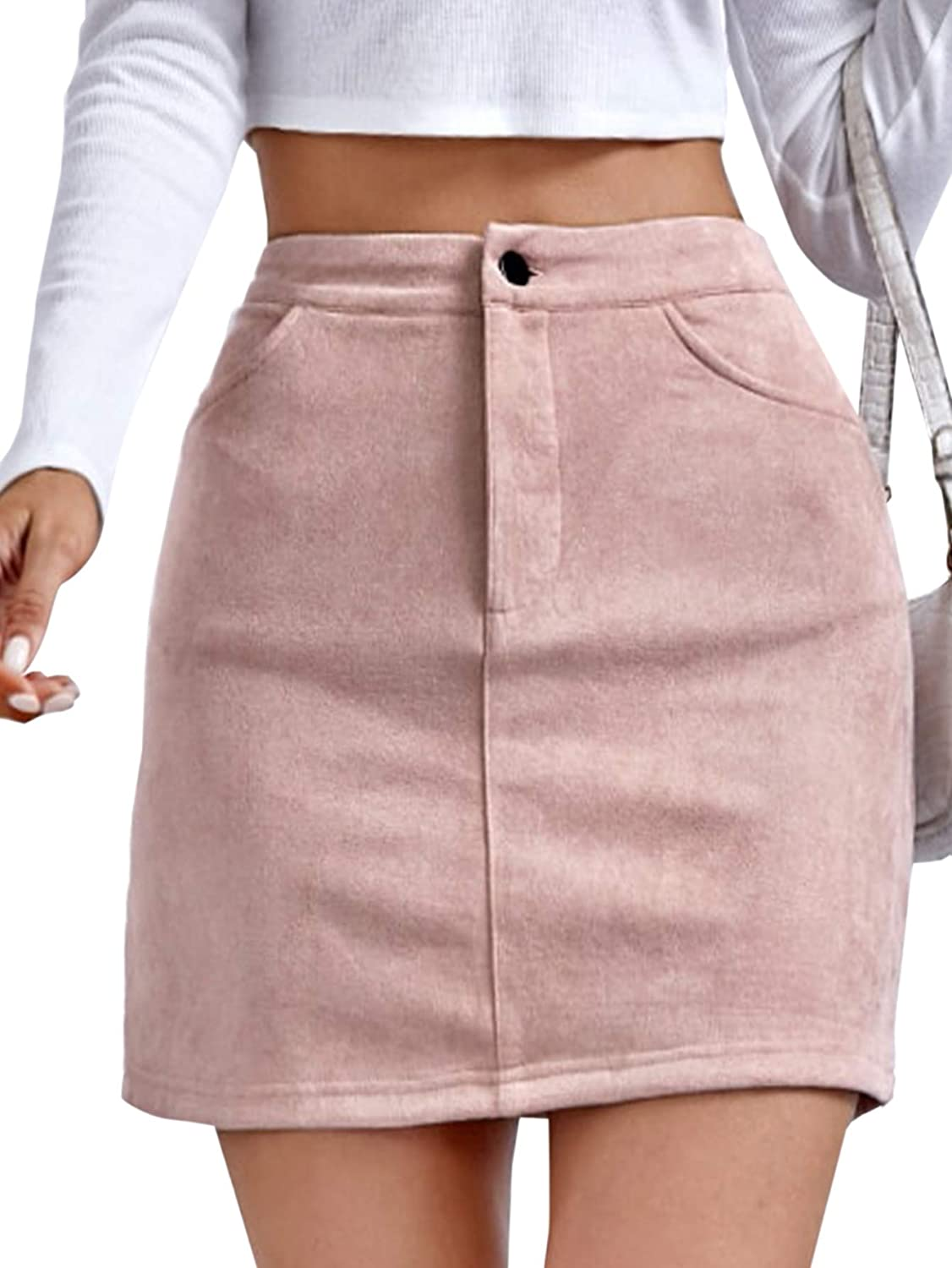 Milumia Women High Waisted Mini Skirt Button Front Solid Suede Skirt with Pockets