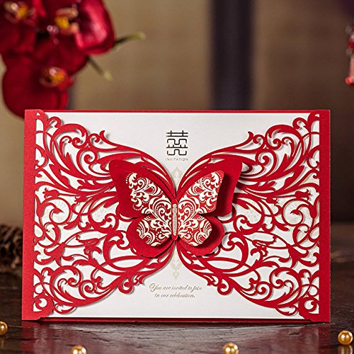 Red Laser Cut Butterfly Wedding Invitations Hollow Floral Party Decoration Chinese Mariage Cards CW5056 (100)
