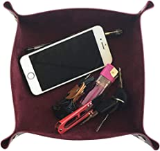 Acronde Leather Valet Tray Jewelry Tray Box Bedside Storage Tray Desk Organizer Trays Personalized Leather Catchall for Coin Key Phone Wallet Watches Glasses Catchall (Wine Red)