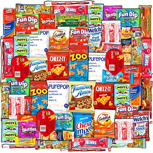 Canopy Snacks (60 Count) - Ultimate Care Package – Variety Box Gift Pack – Assortment Basket Bundle of treats with Chips, Candy and Cookies for College Students, Fall Final Exams, Christmas, Holidays