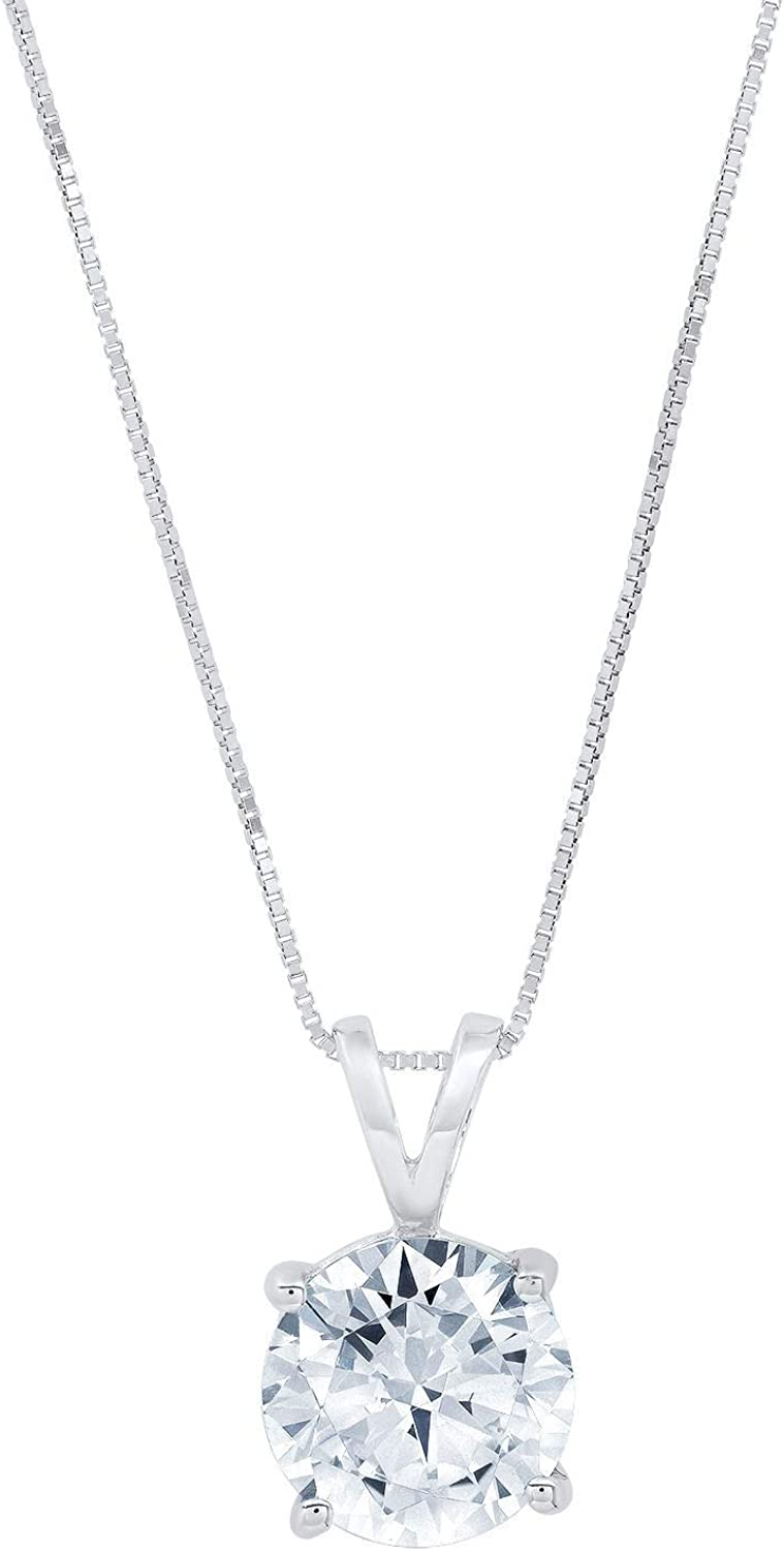 2.1 ct Brilliant Round Cut Stunning Genuine Flawless Natural Aquamarine Gemstone Solitaire Pendant Necklace With 16