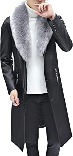 Oberora-Men Slim Faux Fur Collar Long Pu Leather Trench Coat Jacket Outwear