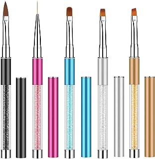 Ebanku 5 Pcs Acrilicas Pinceles para Uñas de Gel Decoracion, Nail Art Acrílico Pintura Dibujo Diseño Cepillo DIY Kit de Herreamientas de Manicurade