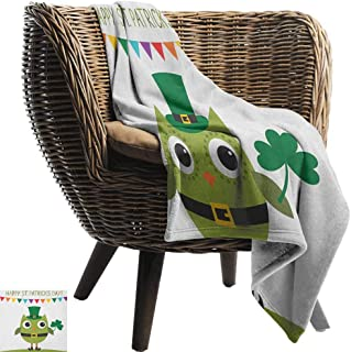Sunnyhome St. Patricks Day, Throw Blanket,Owl with Leprechaun Costume Greeting Design for Party Shamrock Pattern 60