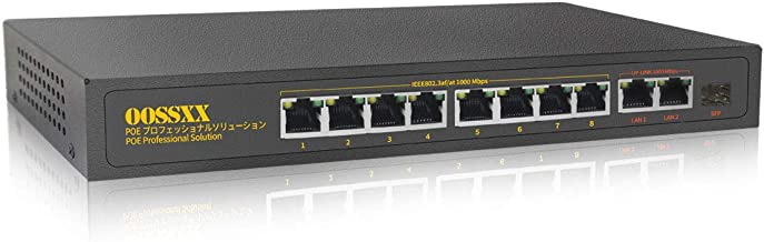 OOSSXX 11 Port Gigabit PoE Switch, 8 PoE Ports/ 2 Uplink/ 1 SFP, Full Gigabit 150W Unmanaged Network Switches, Fanless Stu...