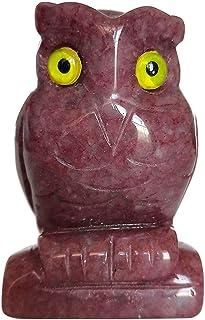 Loveliome estátua de escultura de pássaro de coruja de quartzo natural de morango 5 cm artesanato cura Reiki bolso decoraç...