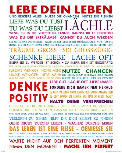 empireposter Motivational - Lebe Dein Leben Bunt Motivations Mini Poster Plakat Druck - Grösse 40x50 cm