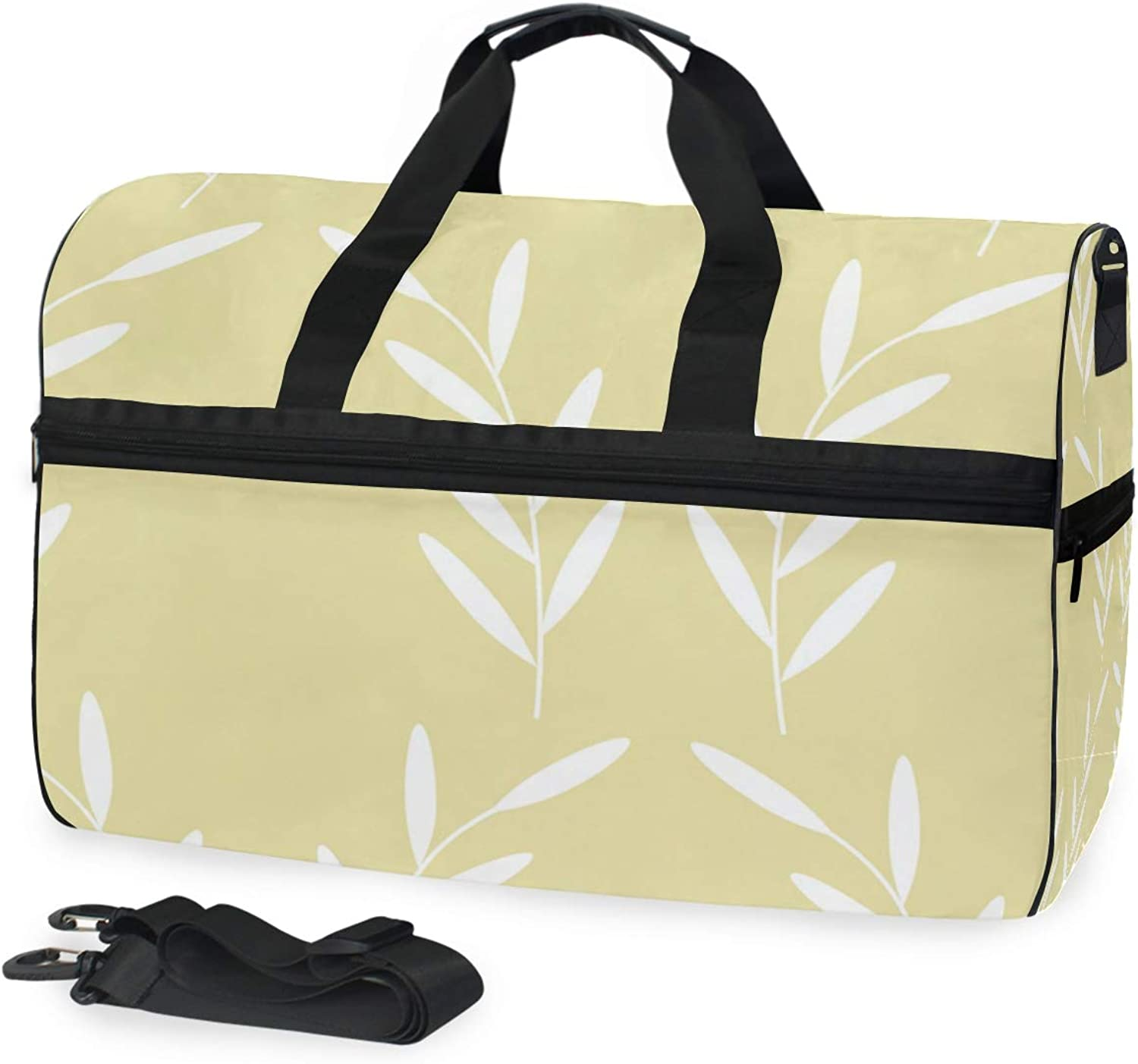 FANTAZIO White Flower Yellow Background Sports Duffle Bag Gym Bag Travel Duffel with Adjustable Strap
