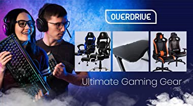 OVERDRIVE DX2 Series Gaming Computer PC Desk Black with Carbon Fiber Styling