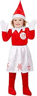 Smiffys 52241T1 Officially Licensed Elf on The Shelf Girl Costume, Red, Toddler - Age 1-2 years