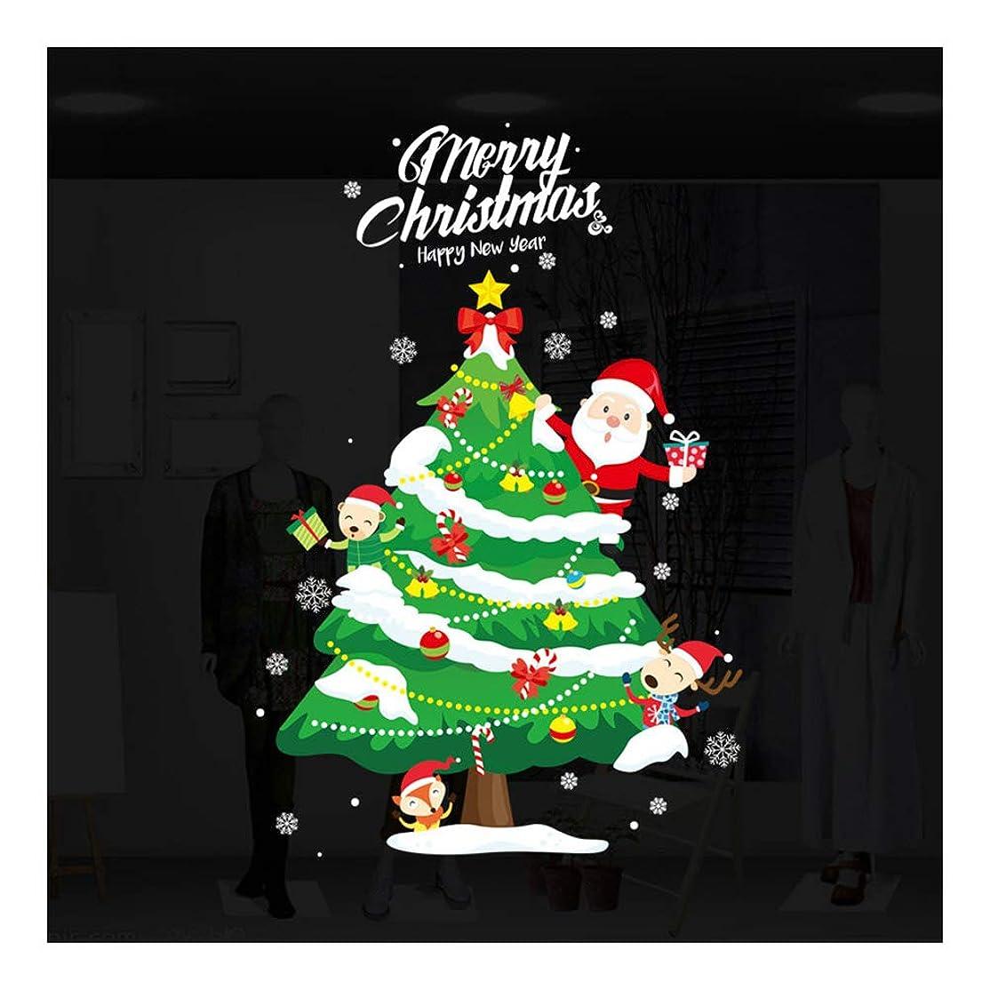 Profeel クリスマスウィンドウステッカーサンタクロース取り外し可能なPVCクリスマスツリーDIY壁窓ドア壁画