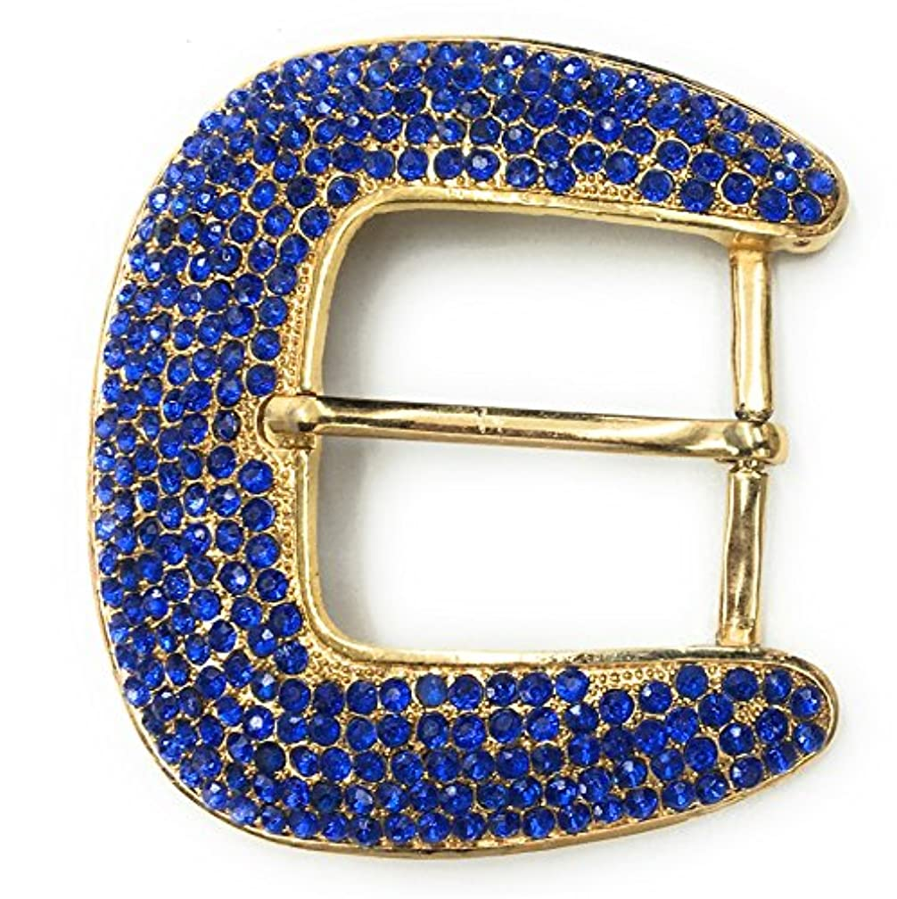 Rhinestone Buckles, Royal Blue Stones on Gold Setting 3-1/4