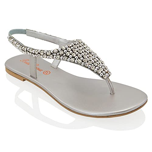 48542d98b13e5f ESSEX GLAM LADIES FLAT DIAMANTE TOE POST SLINGBACK WOMENS PEARL HOLIDAY  DRESSY PARTY SANDALS SIZE 3