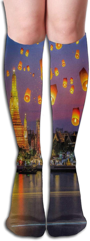 Compression High Socks-Wat Arun Building Thailand Bangkok Coastline People Wishing Positive Asian Culture Best for Running,Athletic,Hiking,Travel,Flight 8.5 x 50cm