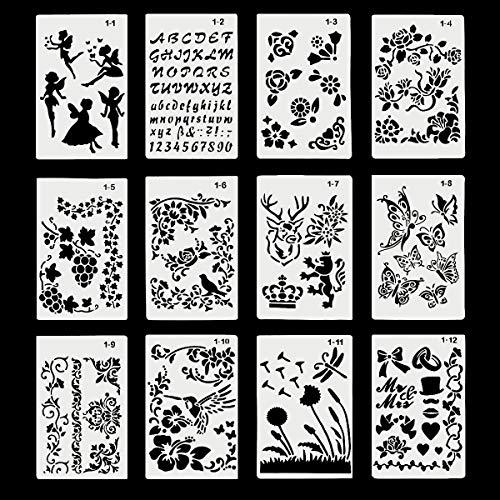 Tekening Stencils, 12 Pack DIY Tekenen Sjablonen Kunststof Vormen Scrapbook Stencils voor Graffiti, Dagboek, Hout Schilderen, Kaart maken, Scrapbooking