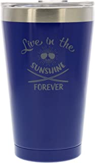 Reduce Stainless Steel Tumbler Pint with Lid, 16oz – Say Goodbye to Warm Drinks – Ideal for Home and Travel – Perfect for Beer, Water, Soda and Coffee –Live In The Sunshine Forever