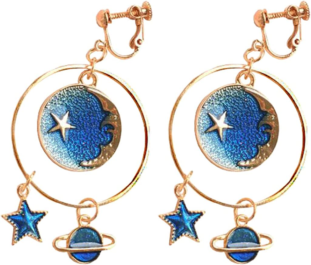 Clip on Earrings for Girls Women Blue Enamel Christmas Moon Face and Star Geometric Circle Dangle