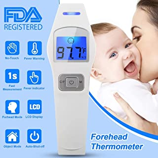 Forehead Thermometer, Digital Infrared Thermometer Non-Contact Ear Thermometer Professional Medical Thermometer Body Infants Accurate Reading with LCD Backlight Display for Baby Kids Children Adults