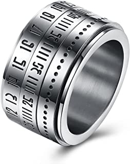 Elegant Rotatable Engraved Roman Numerals Band Ring Personality Cool Style Statement Rings for Mens