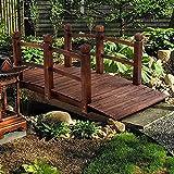 5FT Wooden Arc Garden Bridge with Safety Rails -...