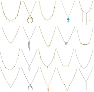 TAMHOO 20 PCS Multiple DIY Layered Choker Necklace for Women with Sexy Coin Moon Star Multilayer Choker Chain Y Necklaces ...