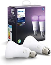 Philips Hue White & Colour Ambiance Smart Bulb Twin Pack LED [E27 Edison Screw] with Bluetooth Works with Alexa, Google As...