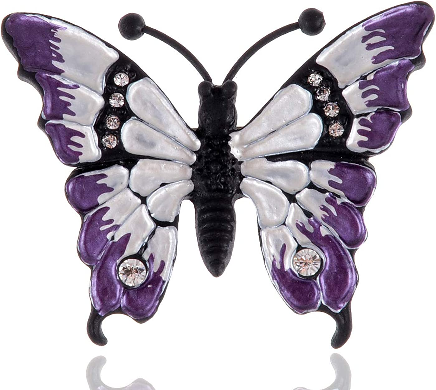 Alilang Dazzling Romantic Shine Crystal Rhinestones Butterfly Enamel Paint Fashion Brooch Pin