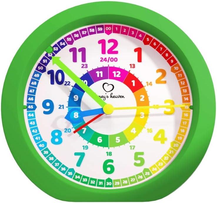 Honeys Heaven R/éveil pour enfant sans tic-tac pour gar/çons et filles vert R/éveil dapprentissage Horloge r/éveil pour enfants R/éveil /à quartz analogique R/éveil