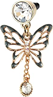 Elegant Black Butterfly Crystal Dangle Phone Charm Anti Dust Plug in Monnel Velvet Bag MP763