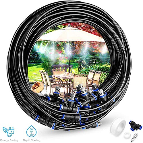 Gesentur Misting Cooling System - 42.6ft (13M) Misting Line + 15 Metal Mist Nozzles + Brass Faucet Adapter (3/4') (1/2') for Outdoor Patio Garden Home Irrigation Trampoline