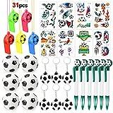HOWAF Artículos de Fiesta fútbol Cumpleaños Niños, 31 Piezas fútbol silbatos fútbol Llavero bolígrafos de Gel balones fútbol Tatuajes Temporales para Niños Fiesta Cumpleaños Regalo Piñata Juguetes
