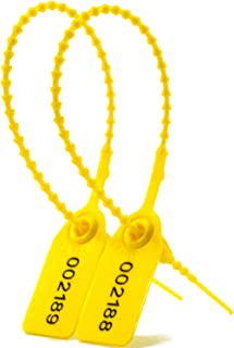 1000 Numbered Security Ties Plastic Seals Pull Tite Security Tags Disposable Self-Locking Tie for Fire Extinguisher 250mm Lenght(Yellow)