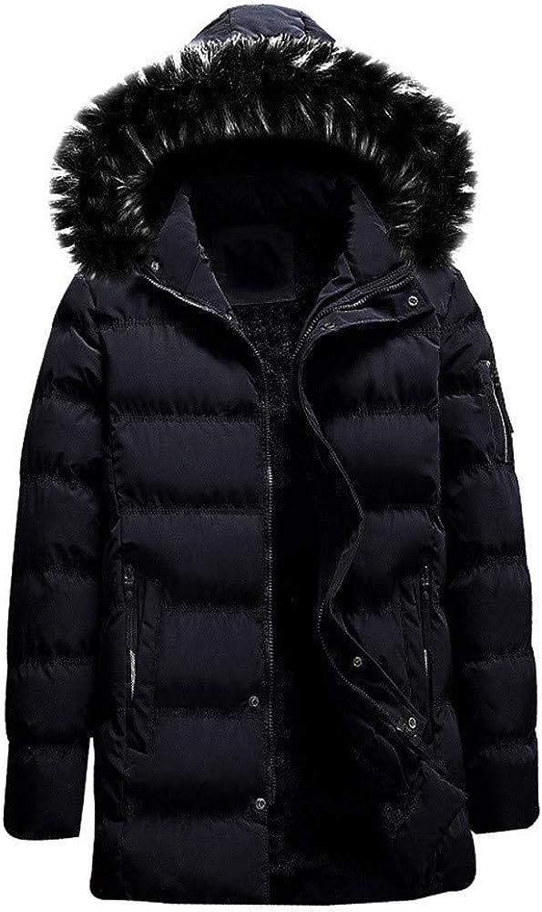 MODOQO Men's Winter Warm Down Parka Coat with Fur Hood Zipper Hoodies Jacket