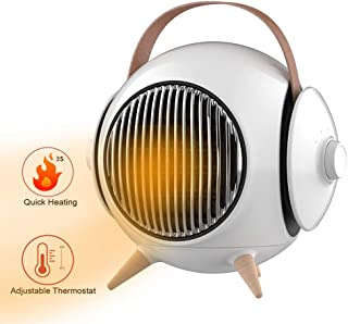 Warm & Life Calefactor Cerámico 1200W Calentador de Espacio Eléctrico Portátil Personal para Cuarto Baño Oficina, Oscilación Automática, 3 Modos de contra Viento,Cuatro Estaciones universales,Blanco
