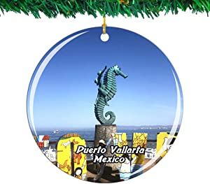 Weekino Mexico Malecon Boardwalk Puerto Vallarta Christmas Ornament City Travel Souvenir Collection Double Sided Porcelain 2.85 Inch Hanging Tree Decoration
