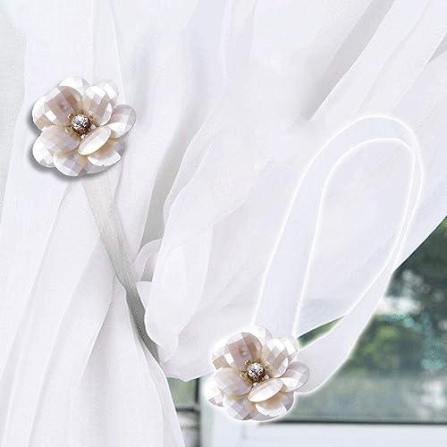 9b5ae67262c Do4U A Pair of Magnetic Curtain Tie Backs Clips Flower Tiebacks Europe Type  Curtain Buckles Holdbacks