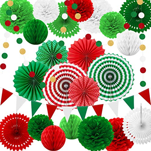 25 Pieces Party Decorations Paper Fans Pom Poms Flowers Garlands String Circle Dot Triangle Bunting Flags Honeycomb Ball Party Supplies for Christmas Birthday Wedding Baby Shower (Red White Green)
