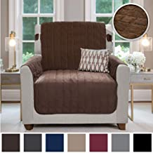 Gorilla Grip Original Velvet Slip Resistant Luxurious Chair Slipcover Protector, Seat Width Up to 23 Inch Patent Pending, 2 Inch Straps, Hook, Armchair Furniture Cover for Pet, Kids, Chair, Chocolate
